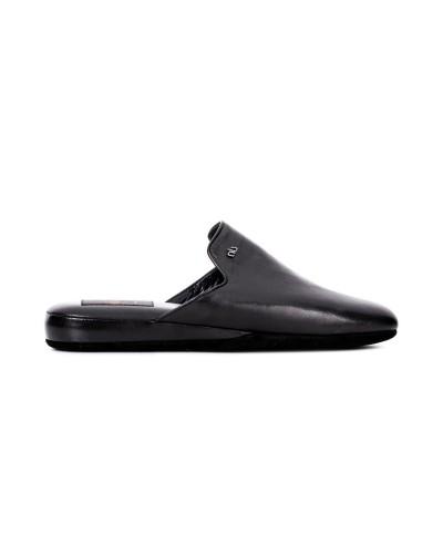 Czarne skórzane pantofle męskie
