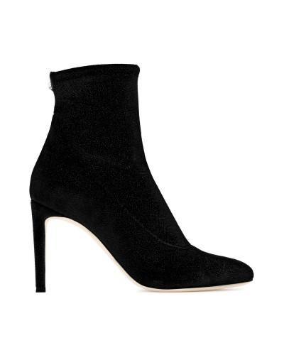 Czarne botki damskie z elastycznego materiału
