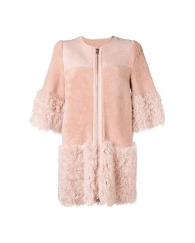 Jasno różowy płaszcz z futerkiem