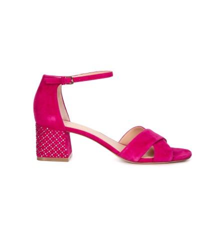 Fuksjowe zamszowe sandały damskie na obcasie