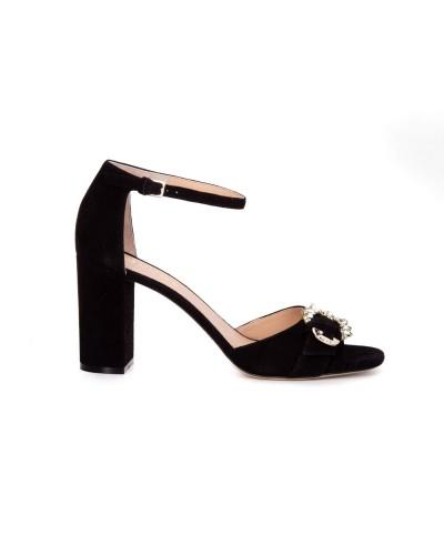 Czarne zamszowe sandały damskie na obcasie
