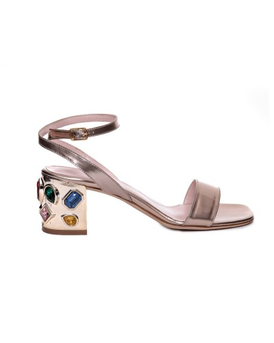 Złote skórzane sandały damskie na obcasie