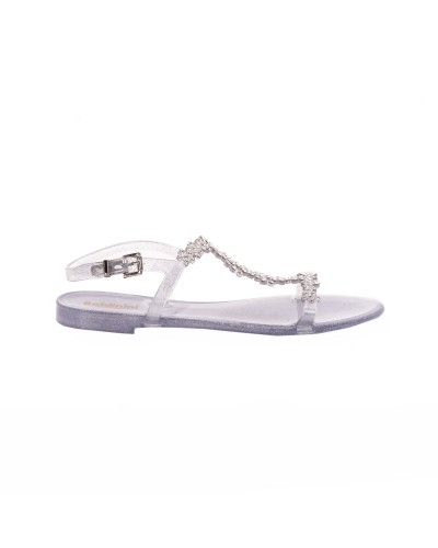 Srebrne żelowe sandały damskie z kryształkami