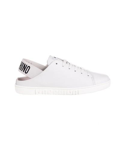 Białe skórzane buty sportowe damskie z odkrytą piętą