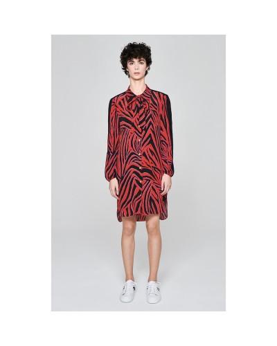 Czerwono czarna jedwabna sukienka szmizjerka