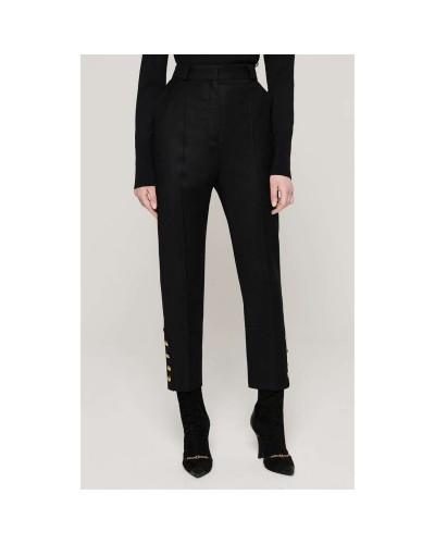 Czarne kaszmirowe spodnie damskie