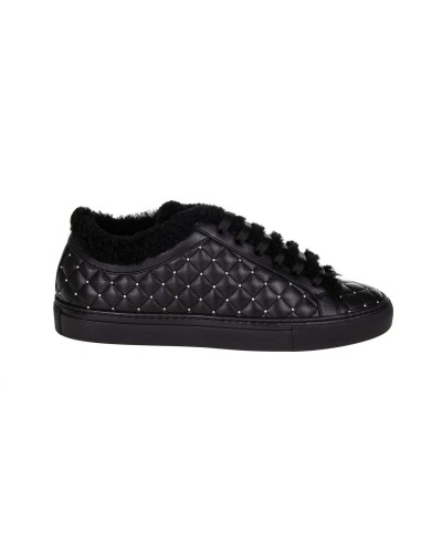 Czarne skórzane buty sportowe damskie