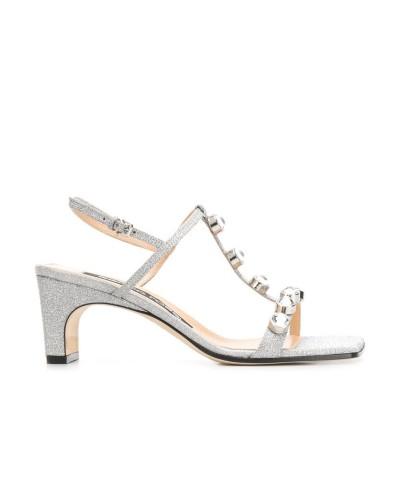 Srebrne skórzane sandały damskie z glitterem