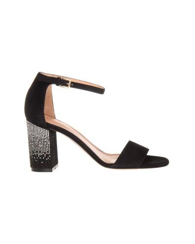 Czarne zamszowe sandały damskie