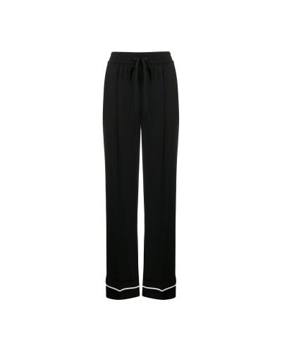 Czarne jedwabne spodnie damskie