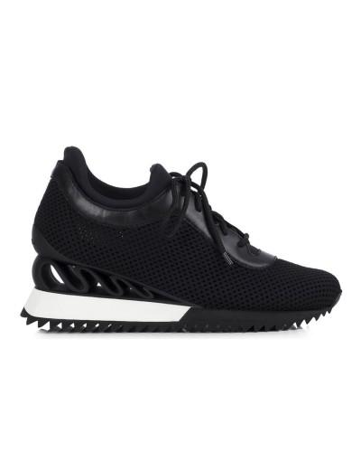Czarne sneakersy na koturnie 6 cm