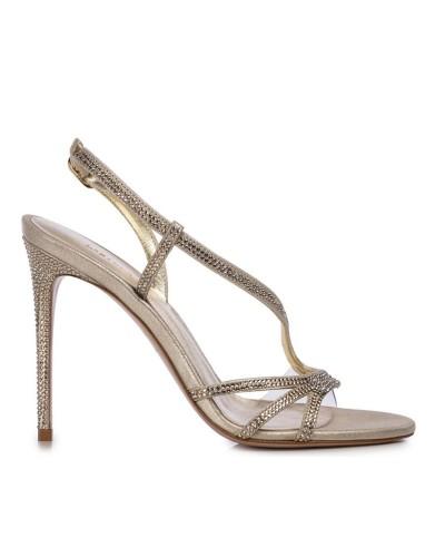 Złote sandały damskie na obcasie