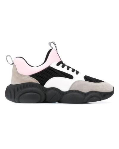 Szaro biało różowe zamszowe sneakersy