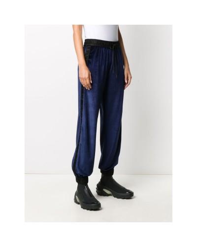 Granatowe welurowe spodnie dresowe