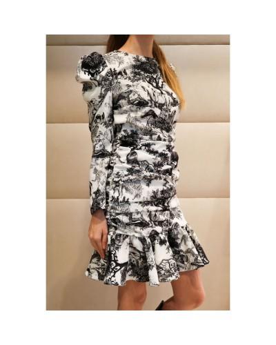 Czarno biała sukienka w print