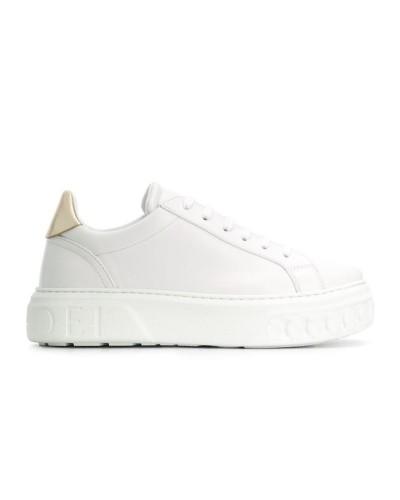 Białe skórzane sneakersy na 4 cm podeszwie