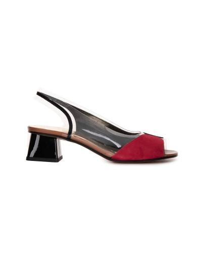 Czarno czerwone sandały damskie