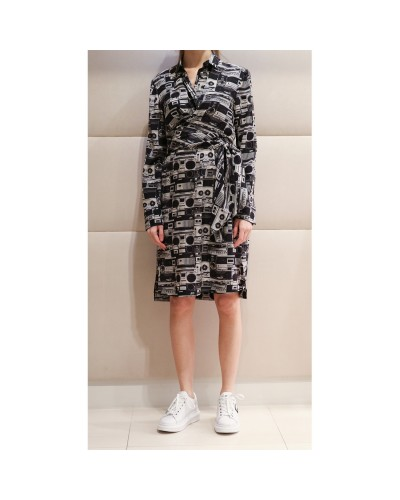 Czarno szara sukienka szmizjerka