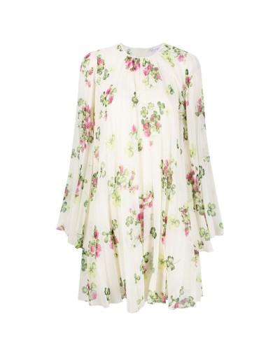 Kremowa sukienka mini w print