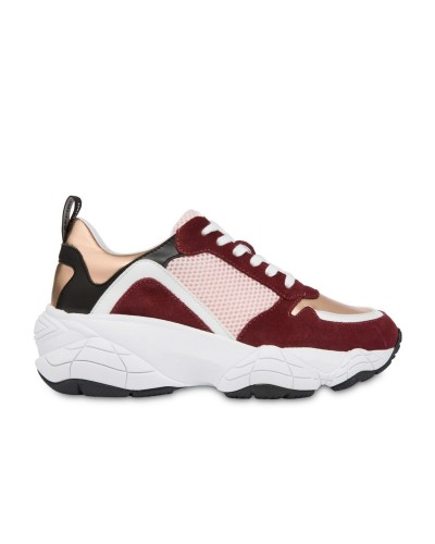 Bordowe zamszowe sneakersy