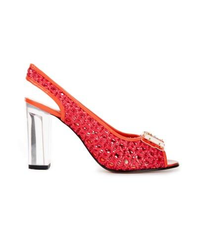 Czerwone sandały na obcasie