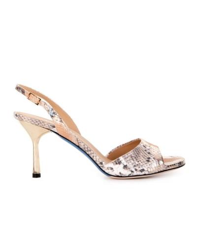 Złoto srebrne skórzane sandały na obcasie