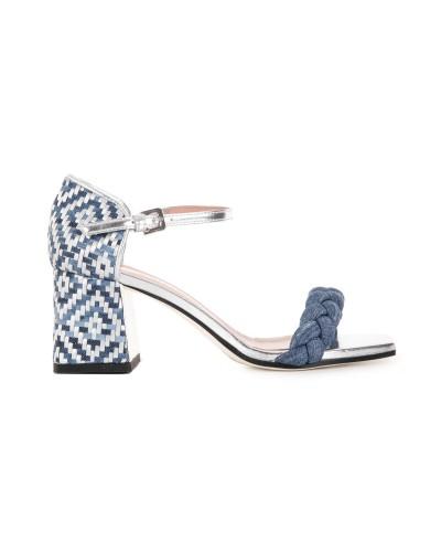 Niebiesko srebrne sandały na obcasie