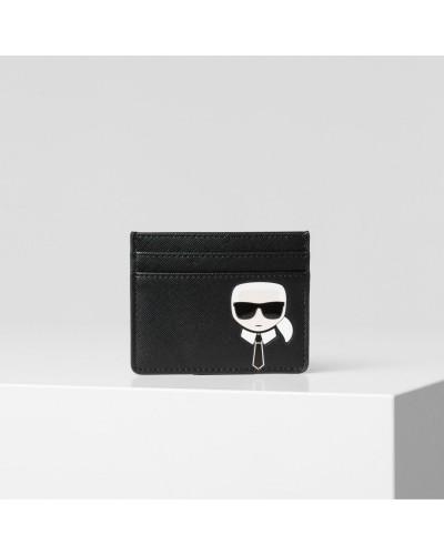 Czarny skórzany portfel na karty Ikonik