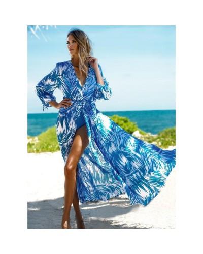 Niebiesko biała długa sukienka