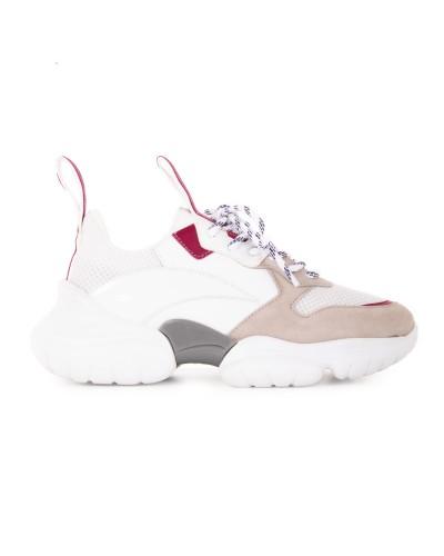 Biało beżowe zamszowe sneakersy