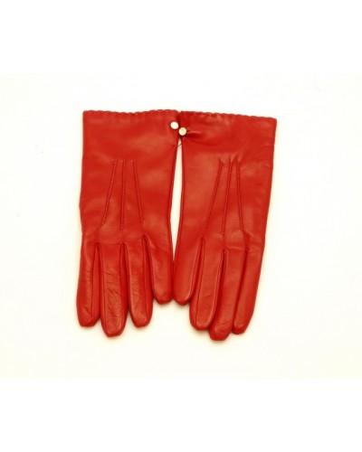 Czerwone skórzane rękawiczki damskie