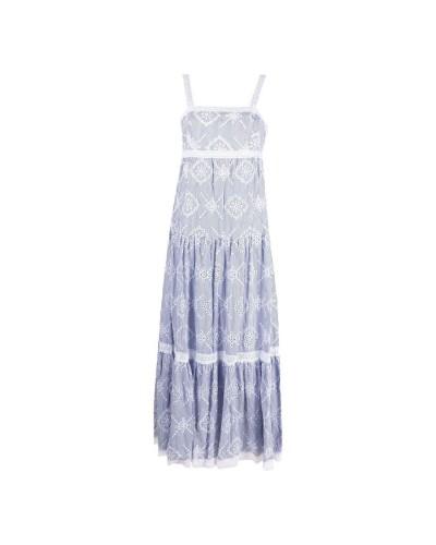 Niebiesko biała sukienka maxi
