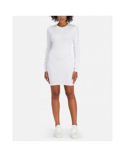 Biała dzianinowa sukienka