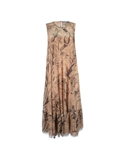 Beżowa jedwabna sukienka midi