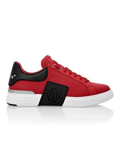 Czerwone skórzane sneakersy męskie