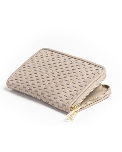 Beżowy skórzany portfel