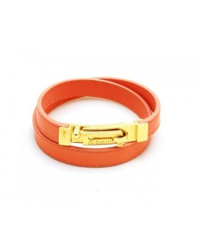 Pomarańczowa skórzana bransoletka damska
