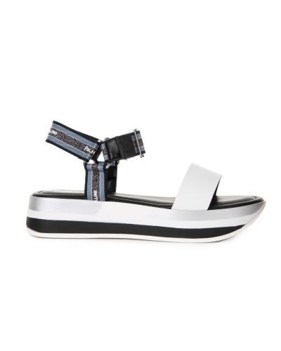 Biało granatowe sandały