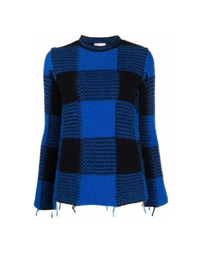Niebiesko czarny sweter w kratkę
