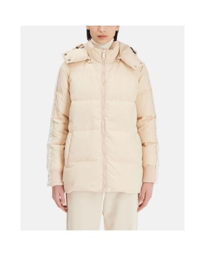 Kremowa krótka kurtka puchowa