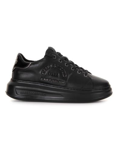 Czarne skórzane sneakersy na 4 cm podeszwie