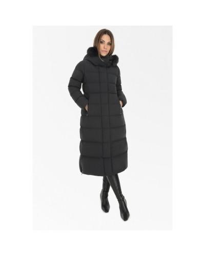 Czarna długa kurtka puchowa