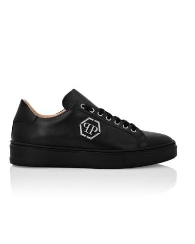 Czarne skórzane sneakersy męskie
