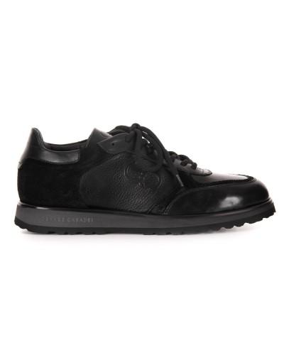 Czarne skórzane sneakersy męski