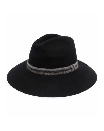 Czarny wełniany kapelusz