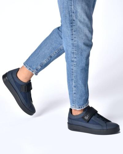 Granatowe skórzane sneakersy męskie