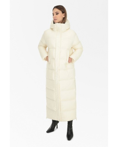 Kremowa długa kurtka puchowa