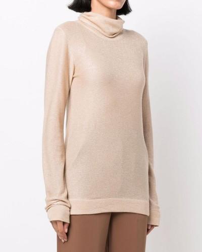 Beżowy sweter z jedwabiu i moheru
