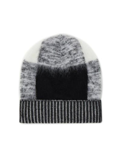 Czarno biała czapka zimowa