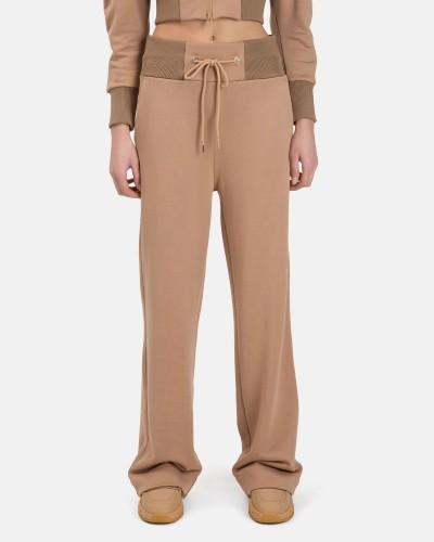 Brązowe szerokie spodnie dresowe